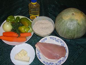 Продукты для приготовления фаршированной тыквы