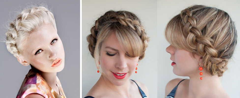 Фото прически из косички на короткие волосы