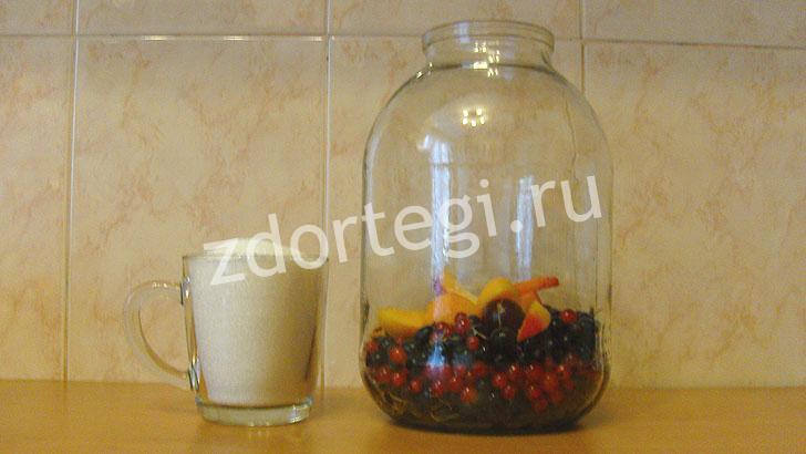 Банка с ягодами и сахар