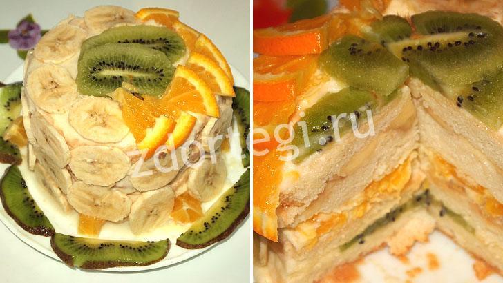 Готовый тортик с фруктами и взбитыми сливками
