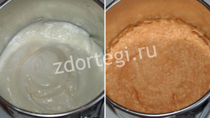 Бисквит до и после духовки