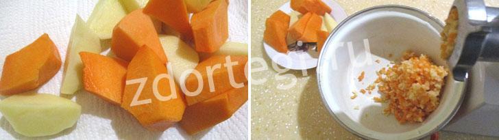Измельчение картофеля и тыквы для теста оладьев