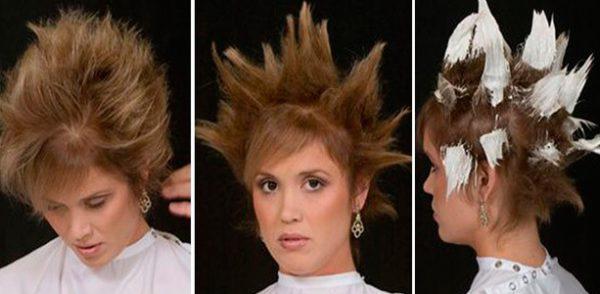 Технология окрашивания кончиков коротких волос.