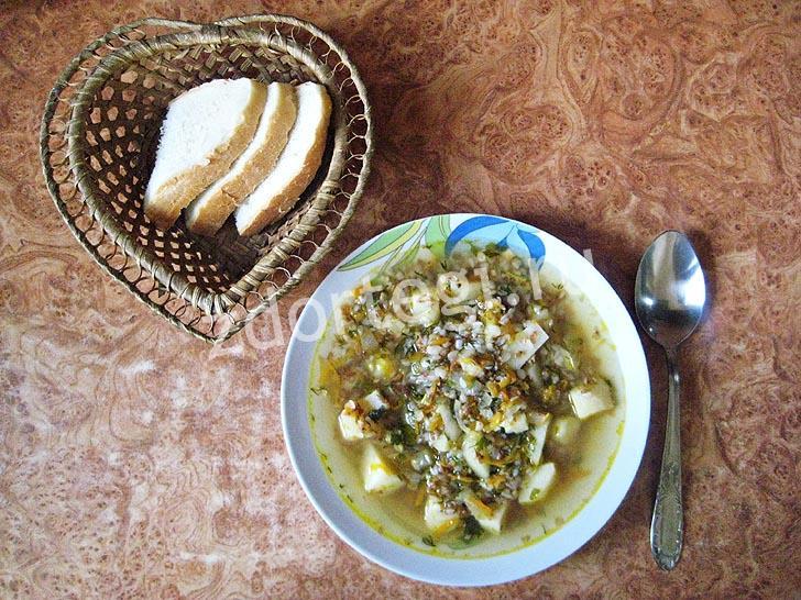 Готовый постный суп на гречневой крупе