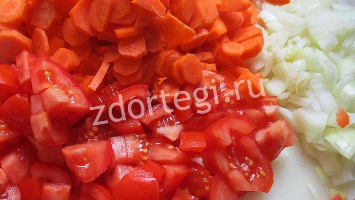 Нашинкованные ингредиенты для супа-пюре