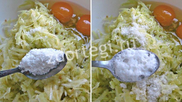 Соль и соду всыпаем в полуфабрикат кабачковых коржей