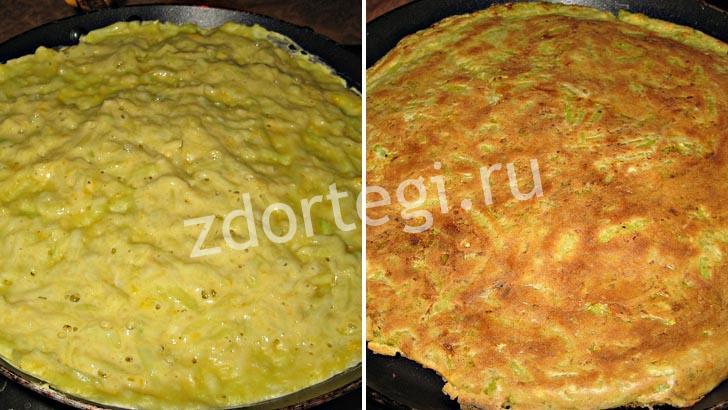 Приготовление на сковороде кабачковых коржей для торта